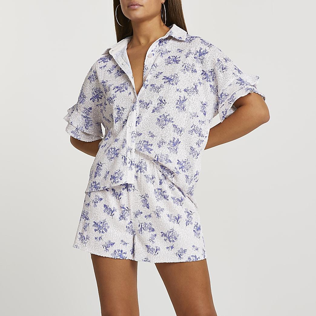 Blue floral sequin short sleeve shirt
