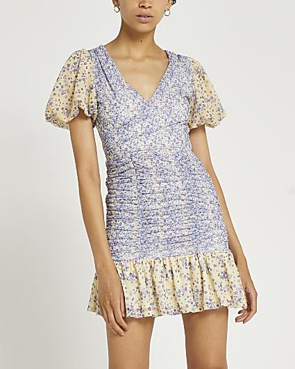 Blue floral shirred bodycon mini dress