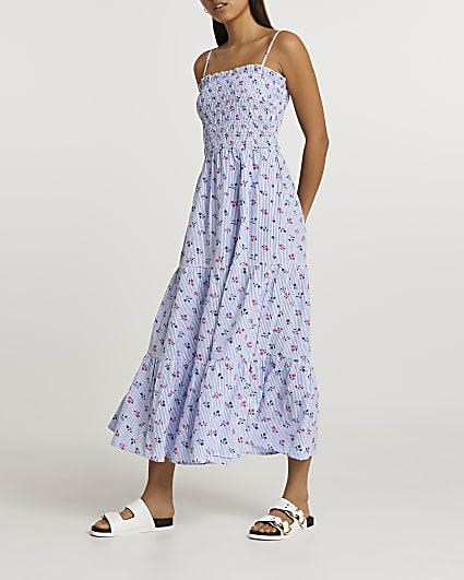 Blue floral shirred maxi dress