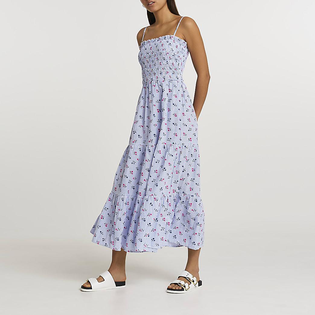 Blue floral shirred midi dress
