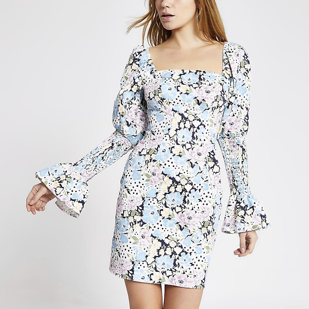 Blue floral shirred puff sleeve mini dress