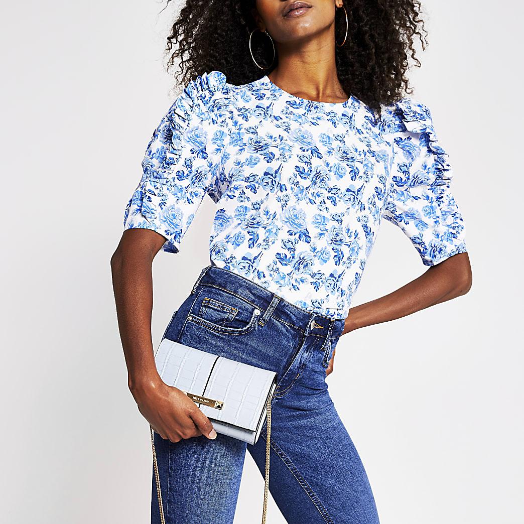 Blue floral short sleeve poplin frill tee