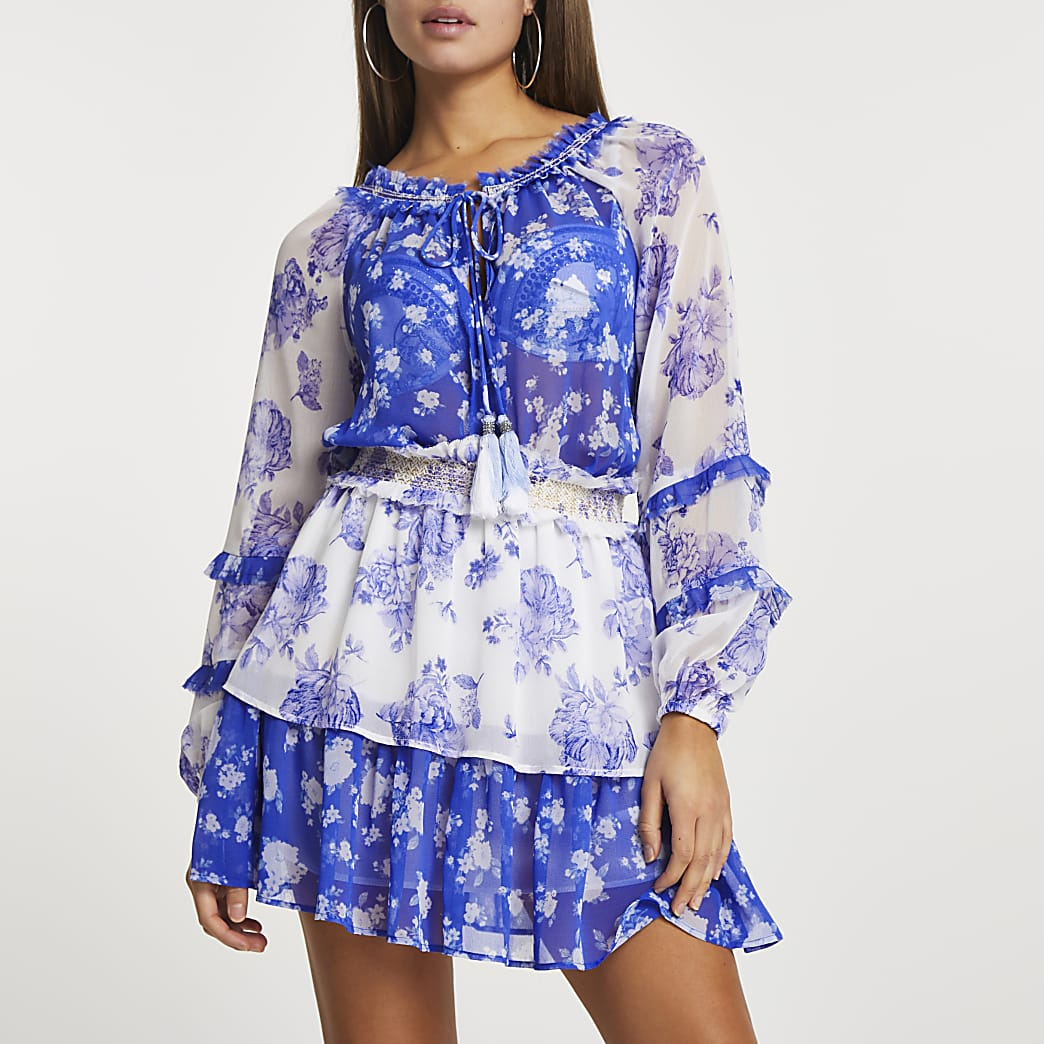 Blue floral smock beach dress cover up