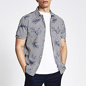 Blauw gestreept slim-fit overhemd met bloemenprint