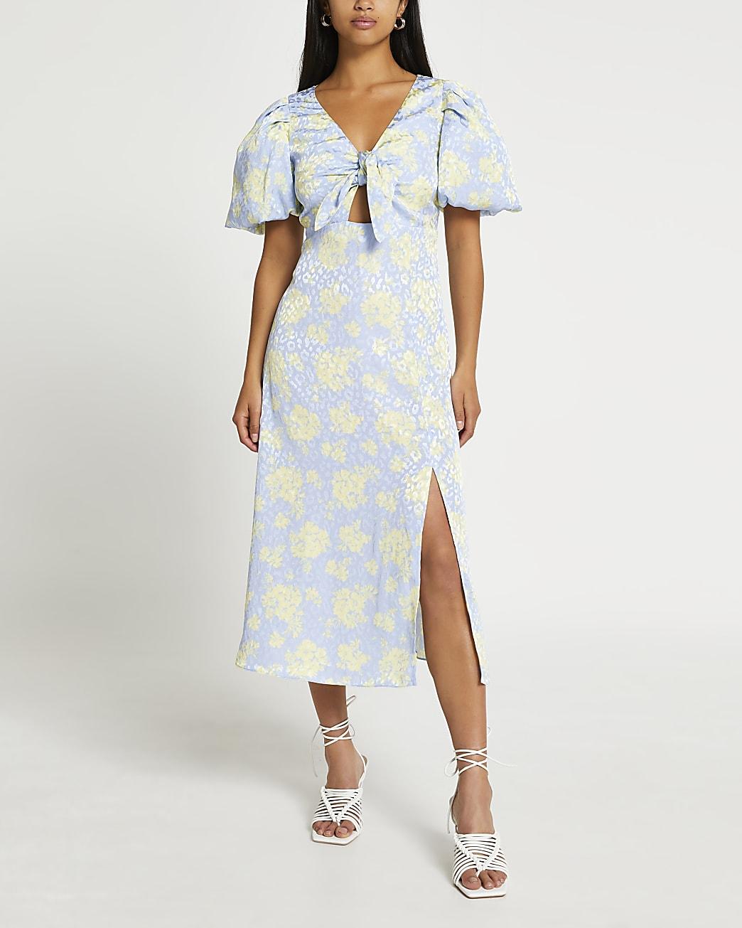 Blue floral tie front midi dress