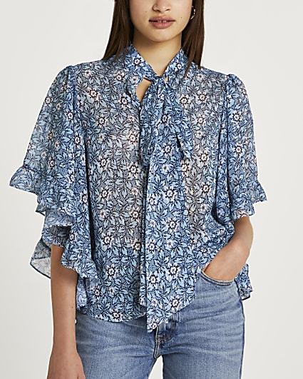 Blue floral tie neck blouse top