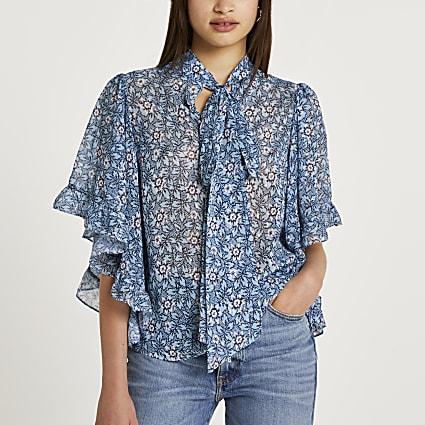 Blue floral tie neck cape blouse top