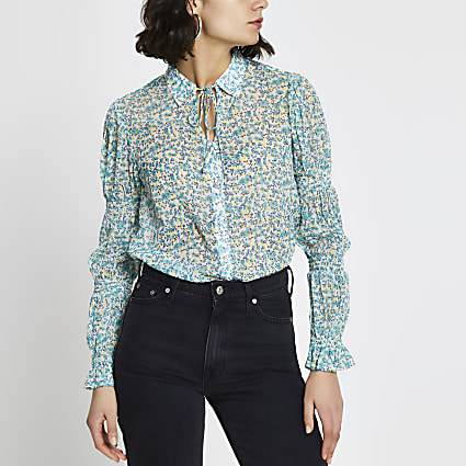 Blue floral tie neck shirt