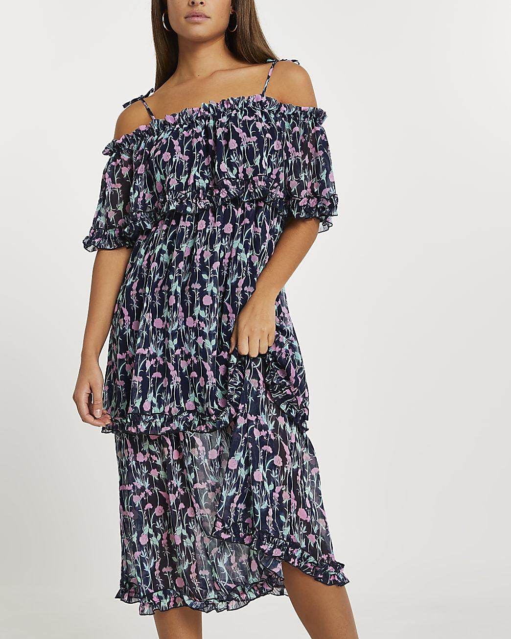 Blue floral tiered midi dress