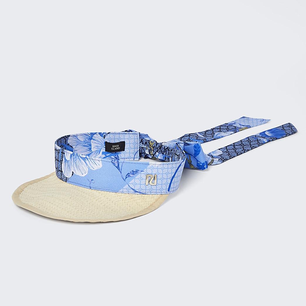 Blue floral visor hat