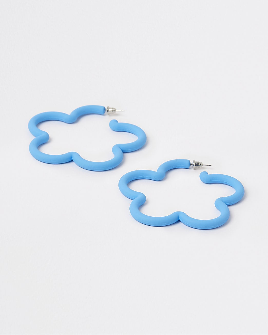 Blue flower hoop earrings