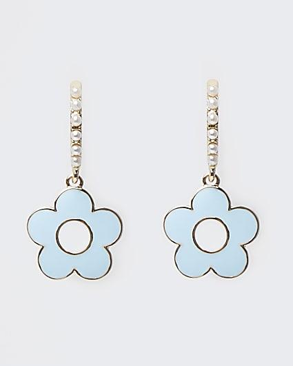 Blue flower pendant hoop earrings