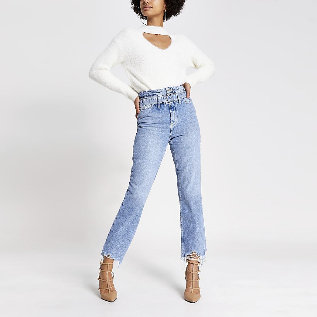 Blue frayed hem Mom paperbag belted jeans