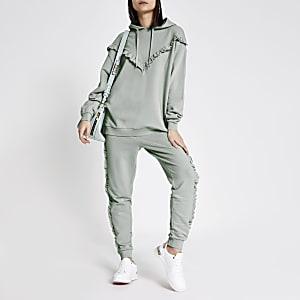 Blauwe geribbelde hoodie met ruches en zigzagprint