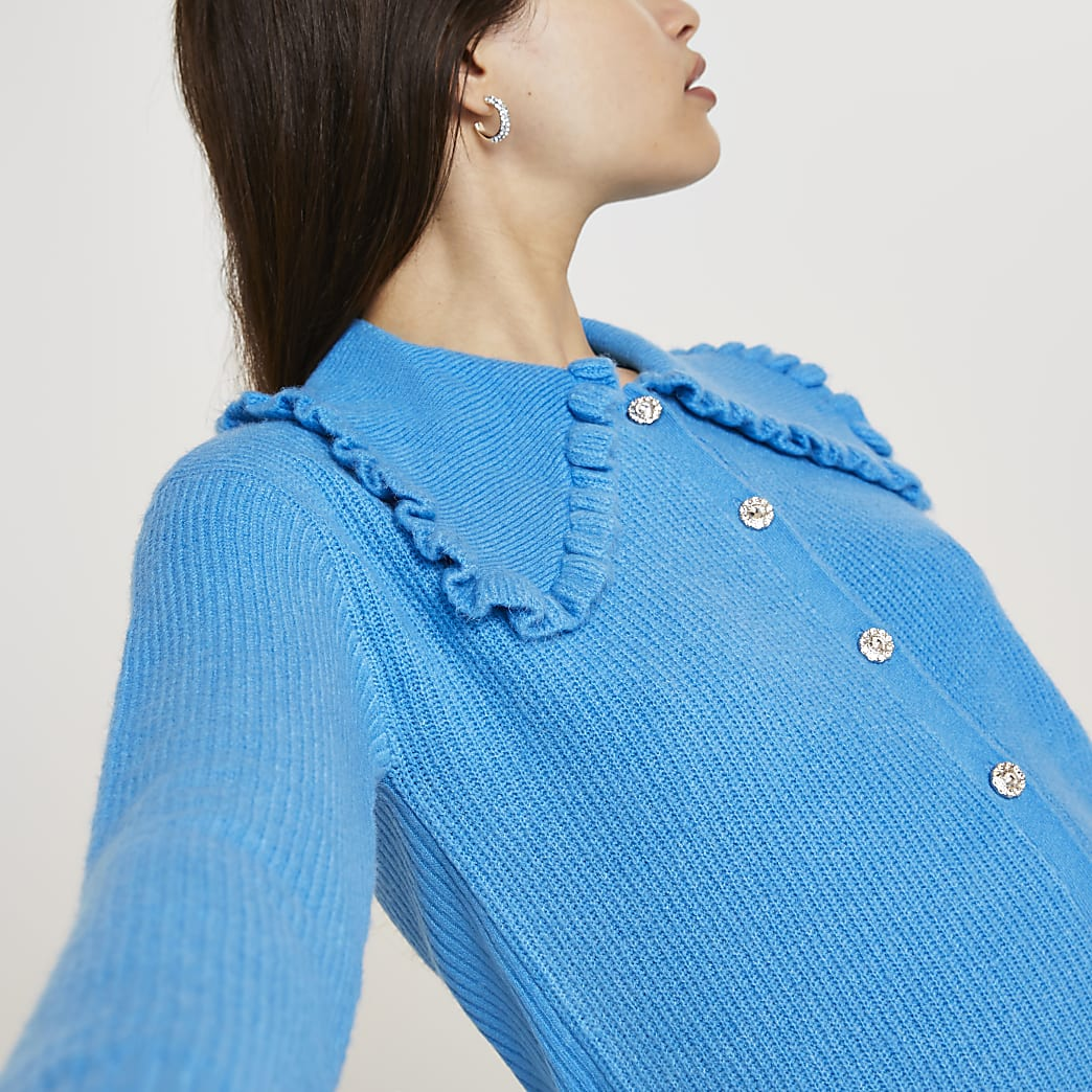 Blue frill collar embellished button cardigan