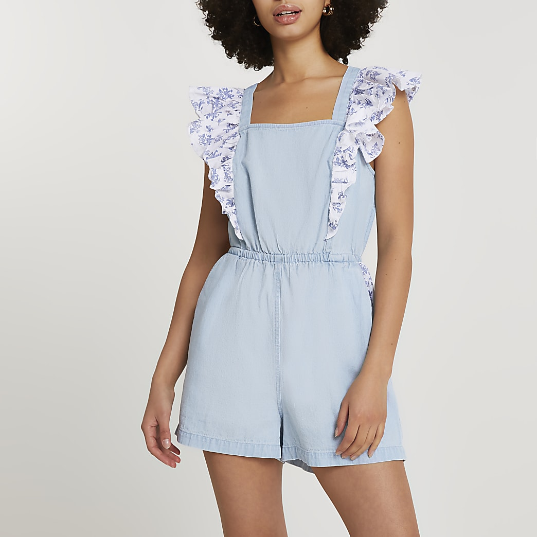 Blue frill denim playsuit