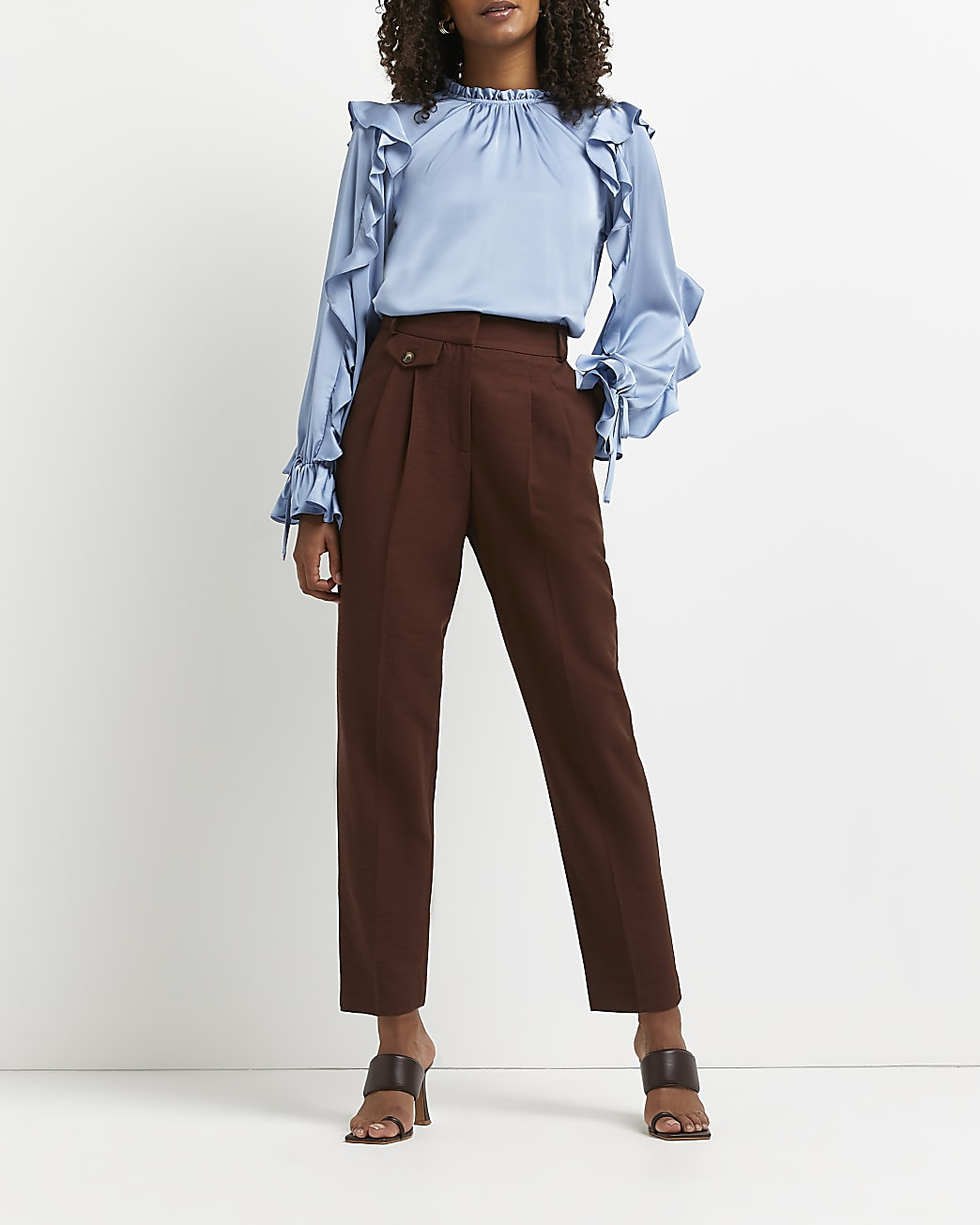 Blue frill detail blouse