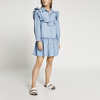 Blue frill detail shirt dress