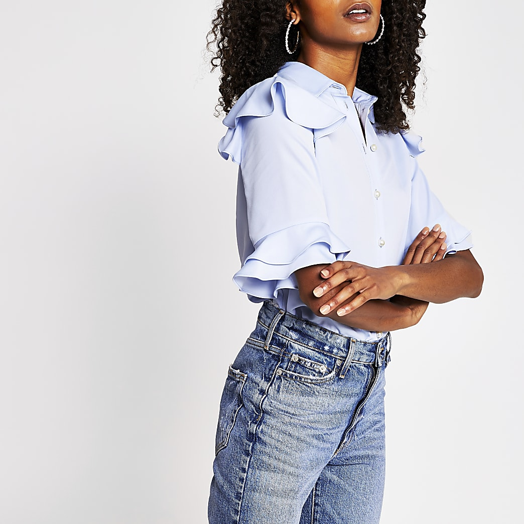 Blue frill detail shirt