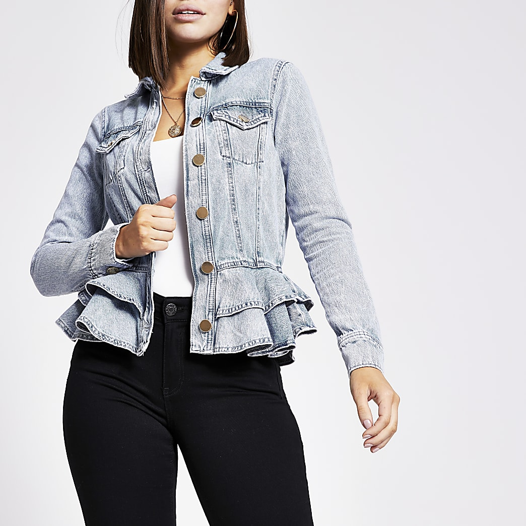 Blue frill fitted denim jacket