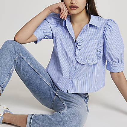 Blue frill pocket short sleeve shirt