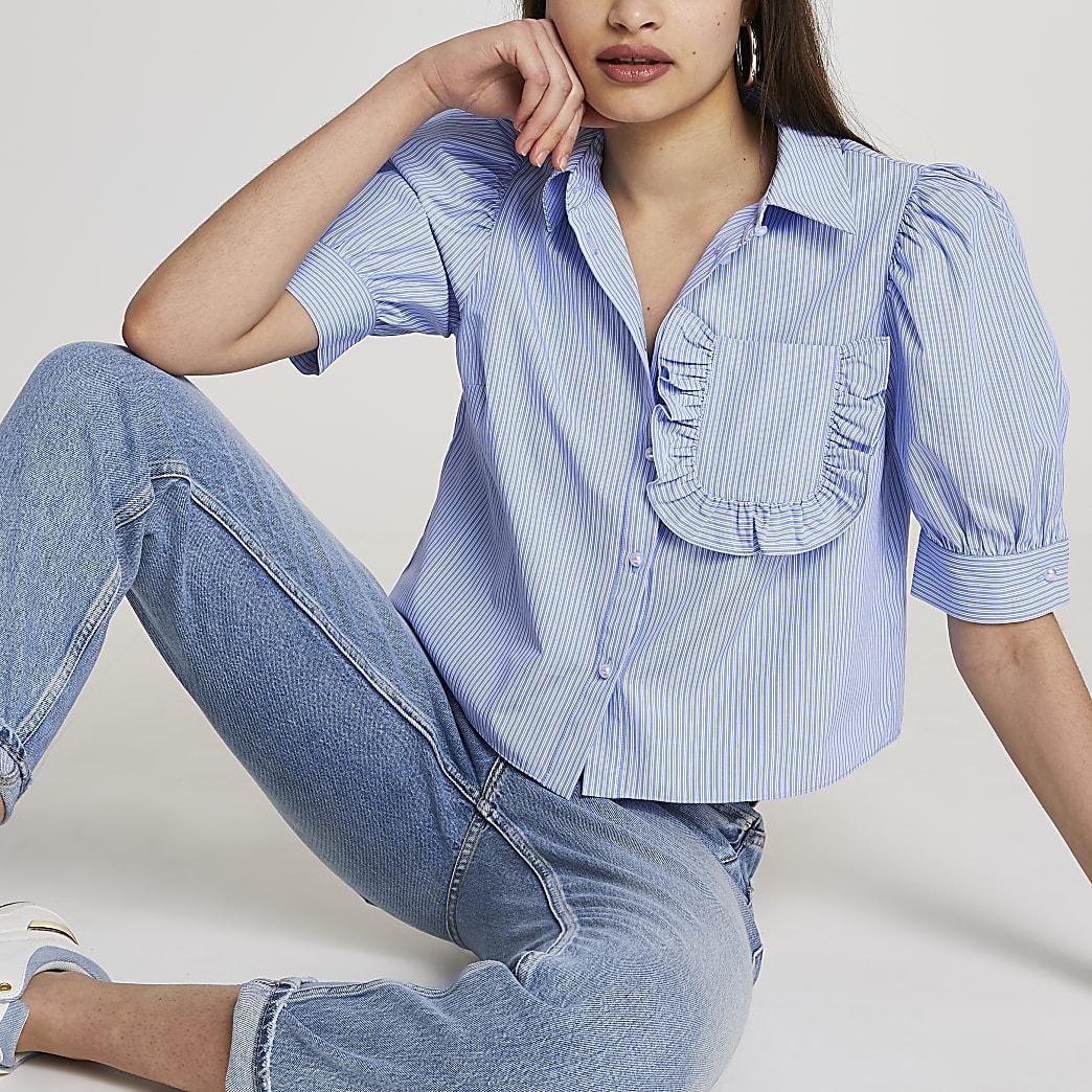 Blue frill pocket short sleeve shirt