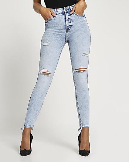 Blue FTBC Charity high waisted skinny jeans