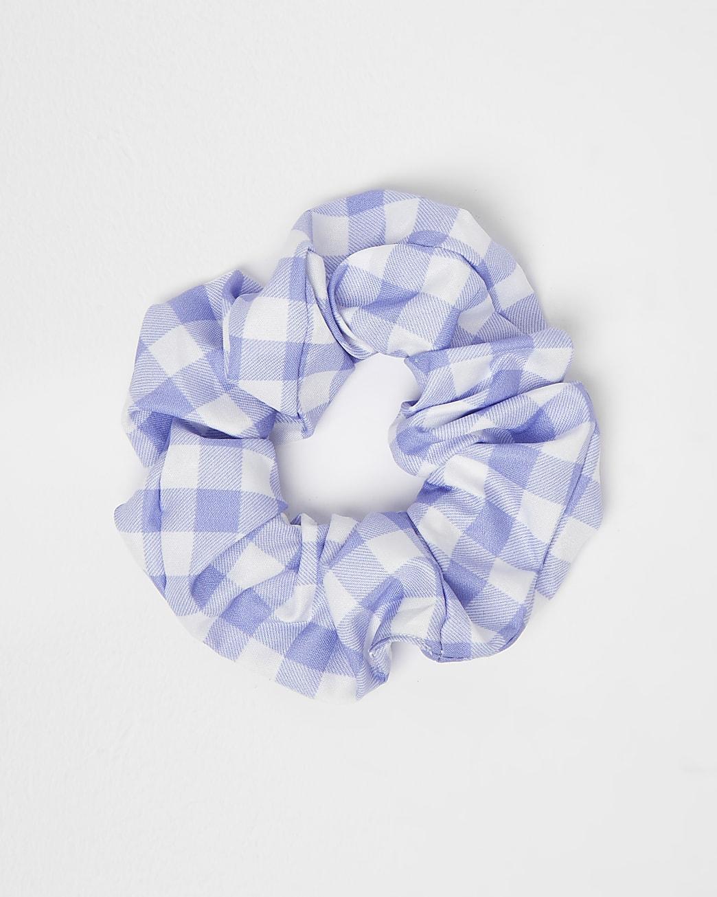 Blue gingham check hair scrunchie