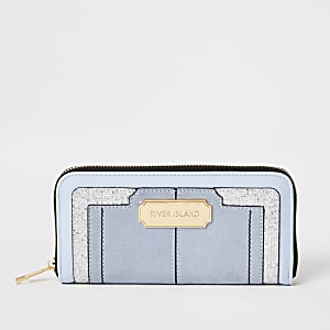 Blue glitter embellished zip around purse