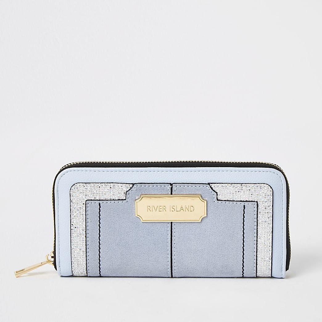 Mini-portefeuille zippé orné de paillettes bleu
