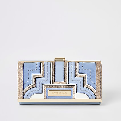 Blue glitter panelled cliptop purse