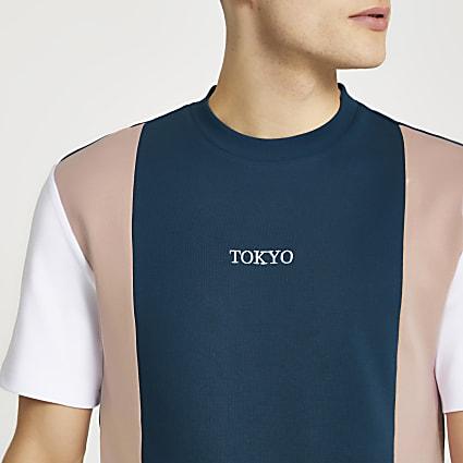 Blue graphic colour block slim fit t-shirt