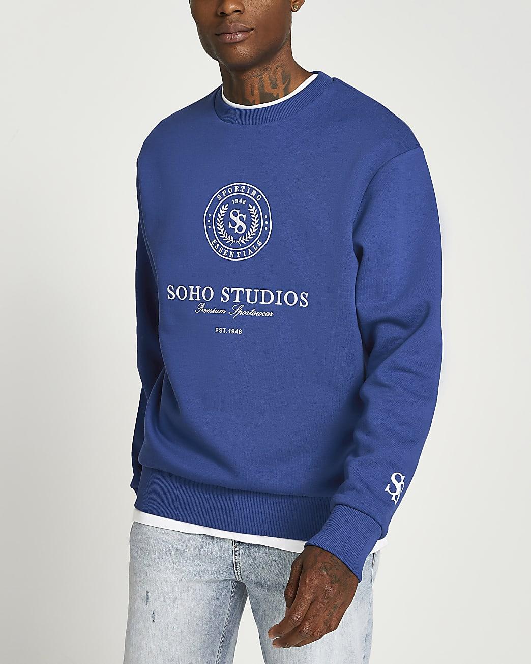 Blue graphic crew neck sweatshirt