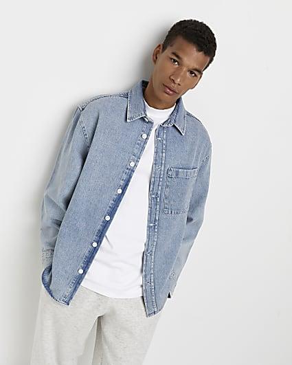Blue graphic long sleeve denim shirt