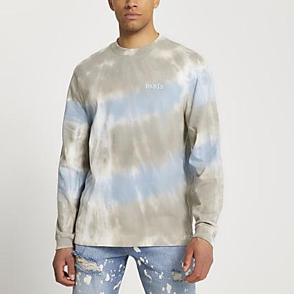 Blue graphic tie dye long sleeve t-shirt