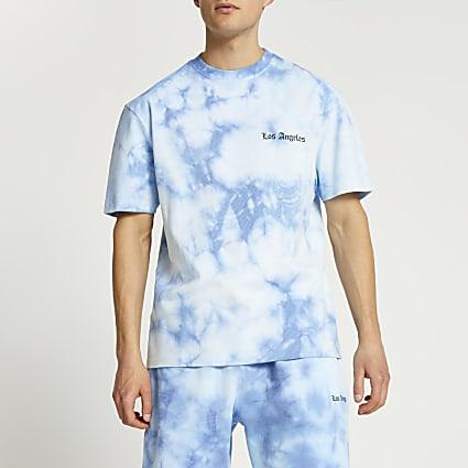 Blue graphic tie dye t-shirt
