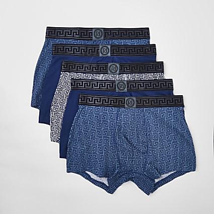 Blue Greek print trunks 5 pack