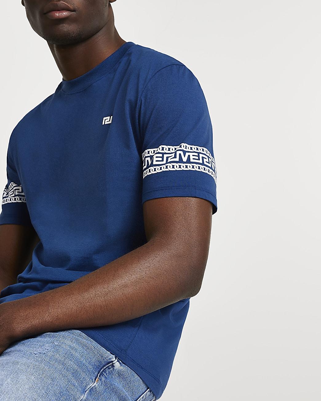 Blue Greek river block slim fit t-shirt