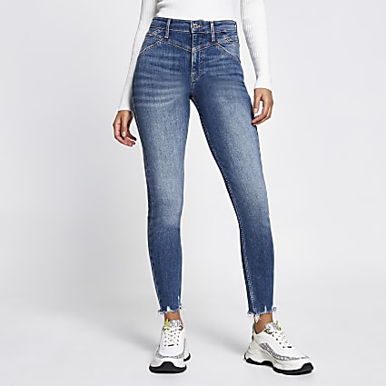 Blue Hailey high rise skinny jeans