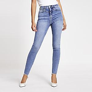 Jean skinnyHaileybleu taille haute