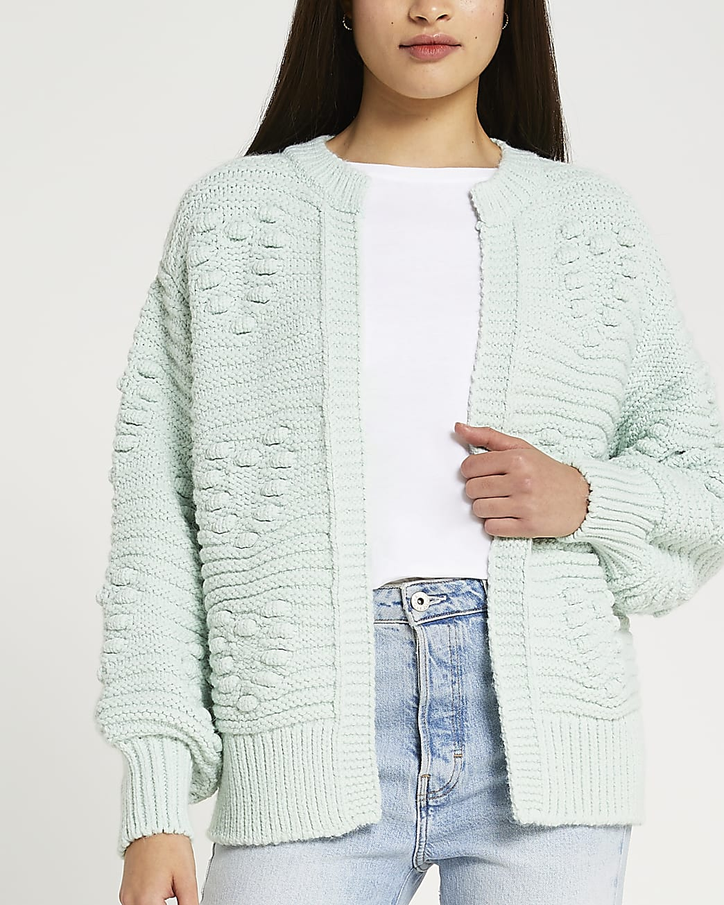 Blue heart detail chunky knit cardigan