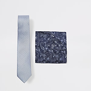 Set aus blauer Fischgrätkrawatte und Paisley-Taschentuch