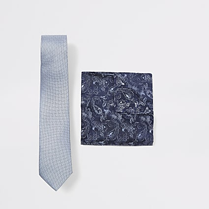 Blue herringbone paisley handkerchief set