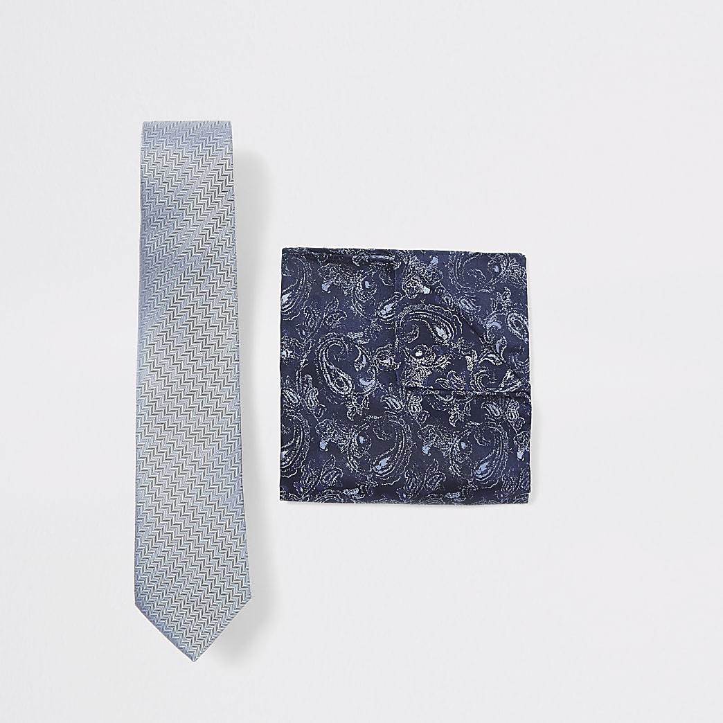 Blauwe paisleyset met zakdoek met visgraat motief