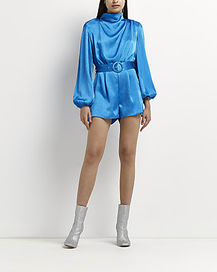 Blue high cowl neck belted playsuit