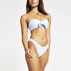 Blue high leg bikini bottoms