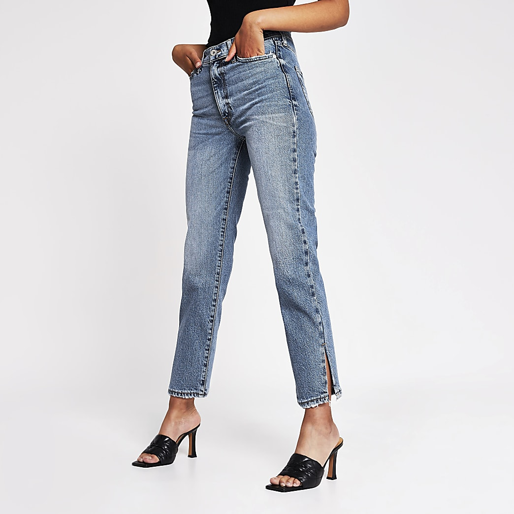 Blue high rise blair split hem straight jeans