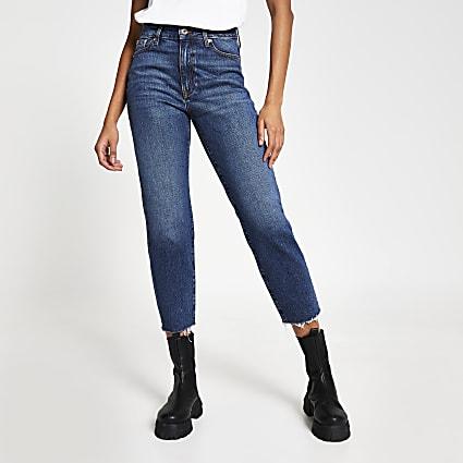 Blue high rise blair straight jeans