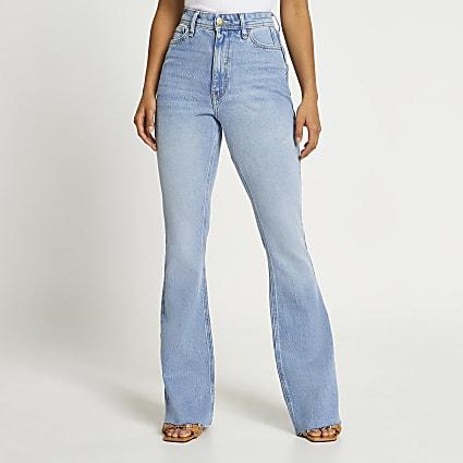 Blue high rise bum sculpt flared jeans