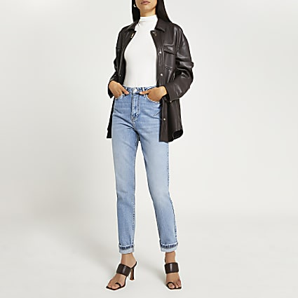 Blue high rise bum sculpt jeans